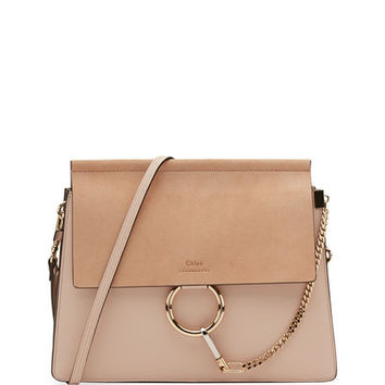Chloe Faye Medium Leather & Suede Shoulder Bag | Neiman Marcus