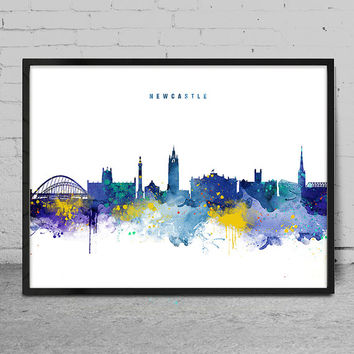 Newcastle Skyline, Newcastle England Cityscape Art Print, Watercolor Painting, Wall Art, Cityscape, City Wall art, Artwork, Art -x142