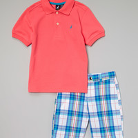 Neon Pink Polo & Teal Plaid Shorts - Infant & Boys | zulily
