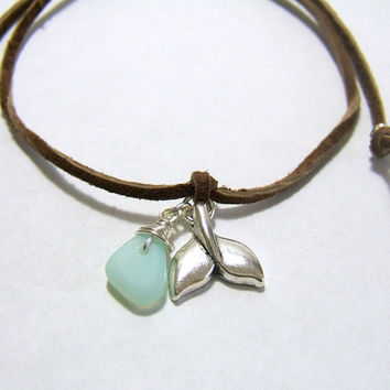 BROWN Suede WHALE Anklet - Genuine Brown Suede Lace - Silver Whale Tail Charm - Wire Wrapped Sea Foam Sea Glass ~ Wrap & Tie - Gift under 15