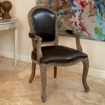 Queen Ann Leather Weathered Wood Dining Chairs