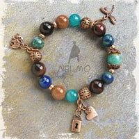 Mixed Gemstone Bohemian Glam Copper Rust Brown Blue Bracelet Elephant Dragonfly Heart Padlock Charm Agate Sandstone Azurite Amazonite Bali