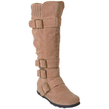 Womens Strappy Buckle Knee High Boots Taupe
