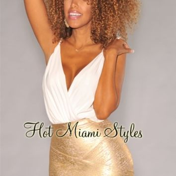 Gold Foil Bandage Arched Mini Skirt