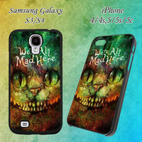 Cheshire Cat Alice in Wonderland Custom Design for iPhone 4/4s/5/5s/5c and Samsung Galaxy S3/S4 Case