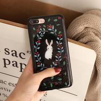Cute Rabbit iPhone 7 7Plus & iPhone se 5s 6 6 Plus Best Protection Case Cover +Gift Box-112