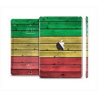 The Red, Yellow and Green Wood Planks Skin Set for the Apple iPad Mini 4