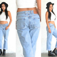 Vintage 90s GUESS Low Rise BOYFRIEND Denim Jeans // Light Medium Wash // Hipster Grunge Street Style // XS Extra Small / Small
