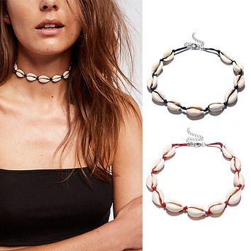 New Boho Sea Shell Choker Necklace Women Natural Shell Jewellery Chocker Simple Necklace for Woman Girls #273495