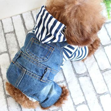 Cute strip small Dog pet cat Denim Jeans coat  jacket Cool dog Puppy vest hoodie jumpsuit overall clothing pitbull dog clothes