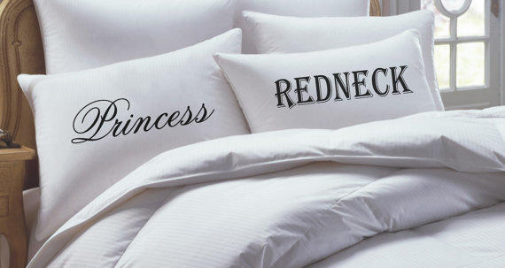 Princess and redneck pillowcase set his from rkgraceprints on for Redneck bedroom ideas