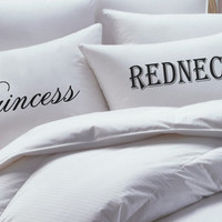 Princess and Redneck Pillowcase Set, his hers pillowcase set, mr mrs pillowcase set