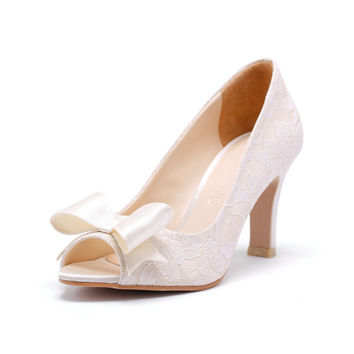 Dorothy, Ivory Peep Toe Court Shoes with White Lace, Ivory Bridal Heels, Ivory Wedding Heels,  Three and a Half Inch Lace Dinner Heels