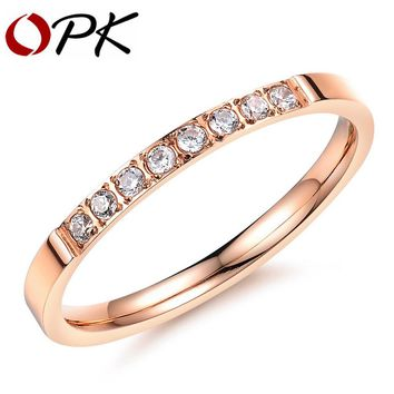 OPK $1.99/Pcs 18 Designs Cubic Zirconia Wedding Ring For Women Fashion Ladies Female Finger Bands Rose Gold Color Jewelry Gift