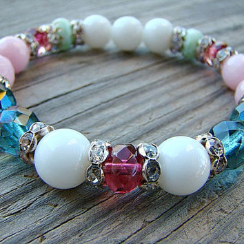 Beaded Stretch Bracelet, Gemstone Bracelet, Pink Stone, Stacking Bracelet, Bead, Bracelet, Elastic, Summer Fashion, White, Beaded Bracelet