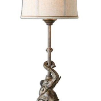 Buffet Table Lamp - Polished Sandstone Body With Antiqued Effect And Mirror Accents