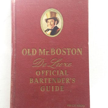Old Mr. Boston Offical Bartender's Guide De Luxe / Vintage Cocktail Bartending Book / Whiskey Bourbon Recipes / Guy Gifts Stocking Stuffer