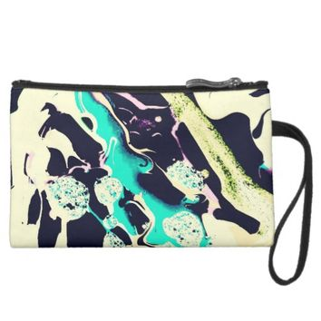 Teal Lilac Black Swirl Paint Splattered Wristlet