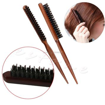 High Quality Wood Handle Natural Boar Bristle Hair Brush Fluffy Comb Hairdressing Barber Tool -B118