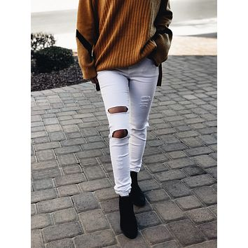 Oh Dear Distressed White Skinny Jeans
