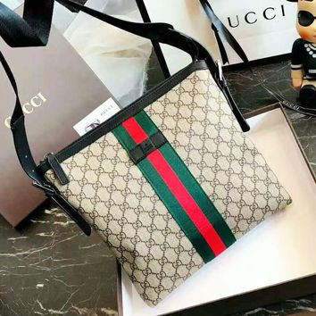 GUCCI New Fashion Women High Quality Stripe More Letter Print Business Casual Shoulder Bag