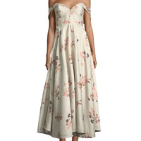 Co Off-the-Shoulder Bustier Floral-Jacquard Tea-Length Cocktail Dress