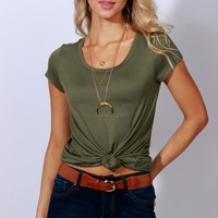 Just Be Basic Long Tee Olive