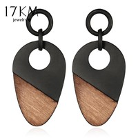 17KM New Fashion Geometry Wood Women's Earrings Long Chain Bohemian Handmade Drop Earring Gift Vintage Jewelry