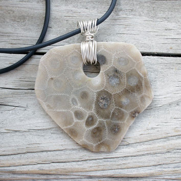 Petoskey Stone Jewelry - Petoskey Stone Pendant - Petoskey Stone Necklace - Stone Jewelry - Michigan Petoskey Stone - Fossil Jewelry