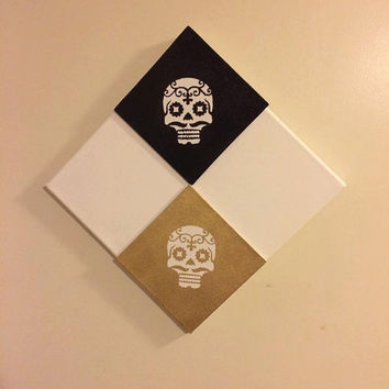 Sugar Skull Canvas, Skull Painting, Halloween Decoration, Witch Hat Painting, Wall Hanging, Skull Decor, Sugar Skull, Day of the Dead, Gift