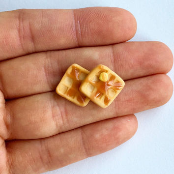 Cute Tiny Square Waffle Earrings Polymer Clay Miniature Food Jewelry