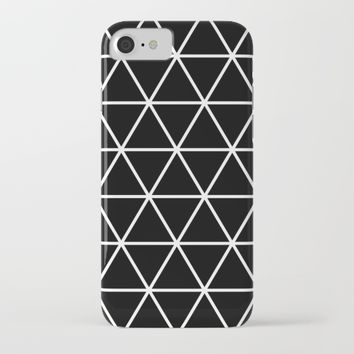 Black Isometric Pattern iPhone & iPod Case by New Wave Studio