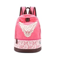MP Women's Lace Embellished Canvas School Bag Travel Backpack 042319 DP8888 Color Pink