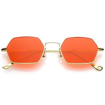 Retro Small Hexagon Colored Flat Lens Metal Frame Sunglasses C472