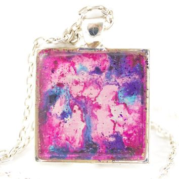Pink Abstract Art Necklace