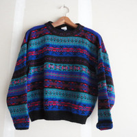 vintage sweater / print sweater / chunky sweater / 80s sweater