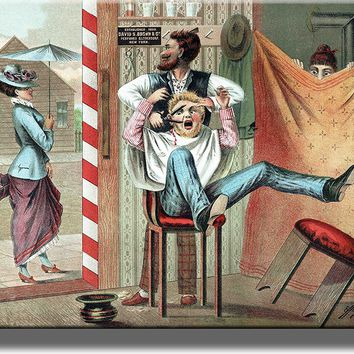 Barber Shop Humorous Picture on Acrylic , Wall Art Décor, Ready to Hang!