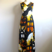 Vintage 1970s Summer Dress Black Orange Hawaiian Landscape Maxi Dress 10