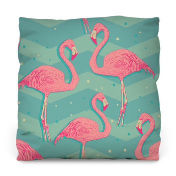 Flamingo Birds Outdoor Throw Pillow
