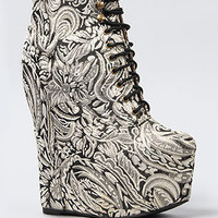 Jeffrey Campbell The Damsel Shoe in Black and Gold Floral Fabric : Karmaloop.com - Global Concrete Culture