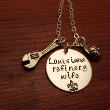 "Hand stamped oilfield necklace ""Louisiana (can use any state) refinery wife"" with wrench and hard hat"