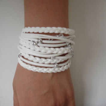 White Suede Cord Wrap Bracelet With Silver Accents,Handmade Jewelry
