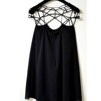 Little black dress skirt of hollow out design, sweet chiffon dress