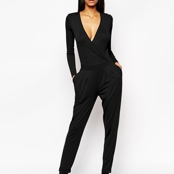 ASOS Wrap Front Jumpsuit With Long Sleeves