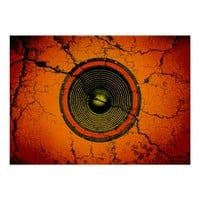 Cracked orange music speaker poster
