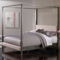 King size Modern Metal Four Post Canopy Bed Frame with Upholstered Headboard and Footboard