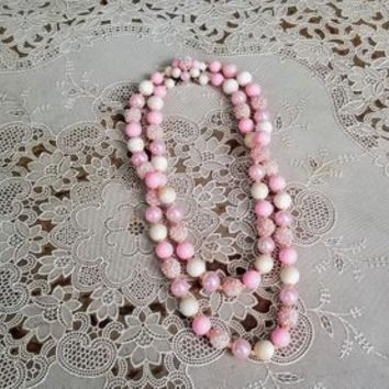 Sixties Double Strand Pink Bead Necklace Beaded Clasp Japan
