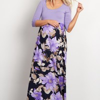 Lavender-Floral-Bottom-3/4-Sleeve-Maternity-Maxi-Dress