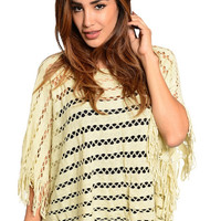 Shine Bright Beige & Gold Open Knit Fringed Poncho Sweater