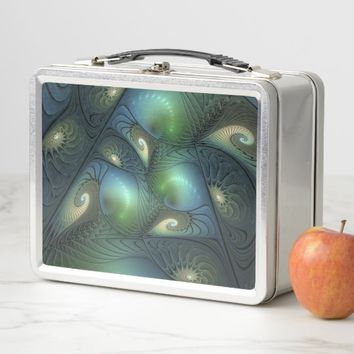 Cool Spirals Beige Green Turquoise Fractal Metal Lunch Box